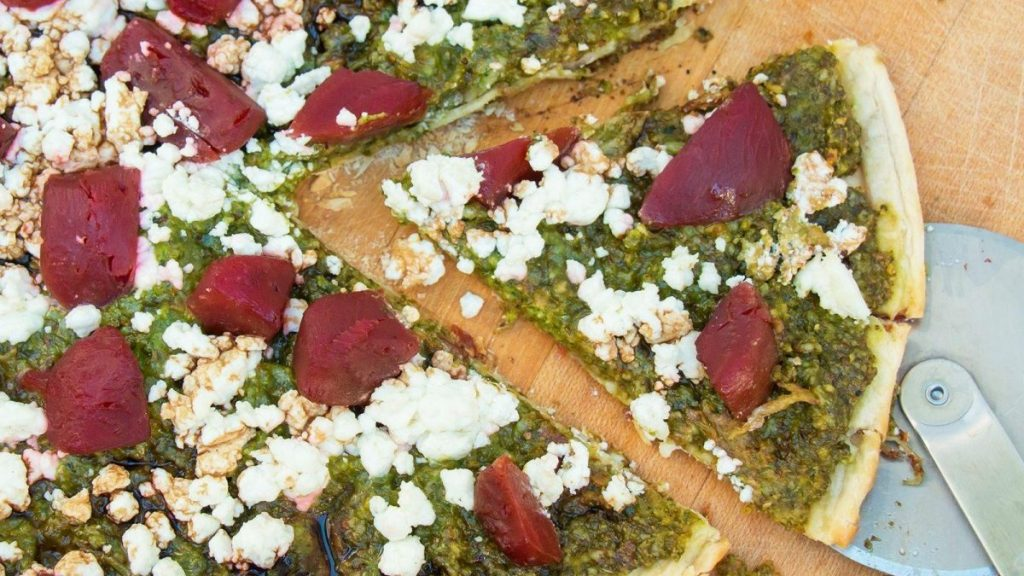 Arugula Pesto Pizza With Beets And Goat Cheese