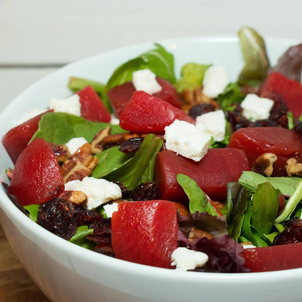 Sweet Beets And Greens Salad With Goat Cheese