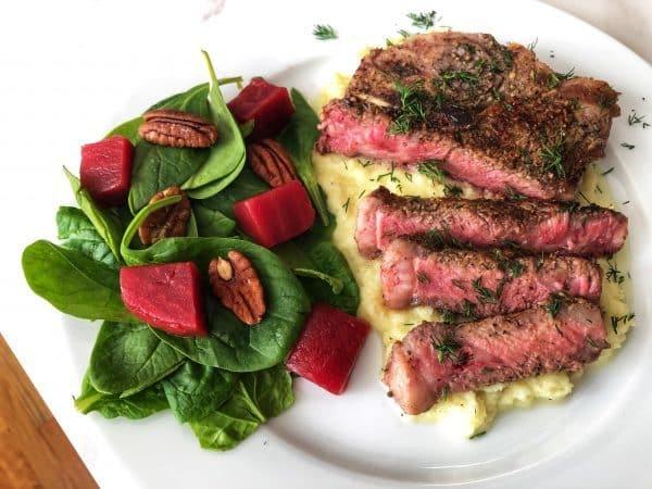 Steak with Sweet Cauliflower Mash