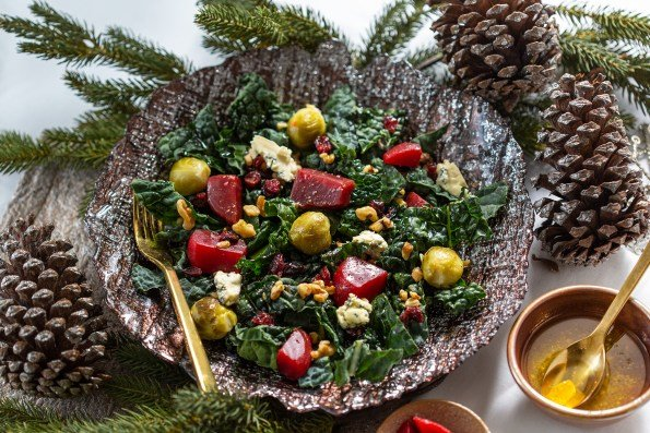 Winter Holiday Salad w/ Kale, Beets + Brussels