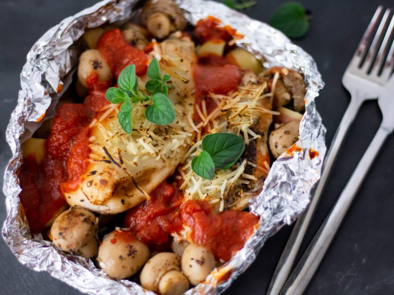 Chicken Parm Grill Packs with Grilled Mushrooms