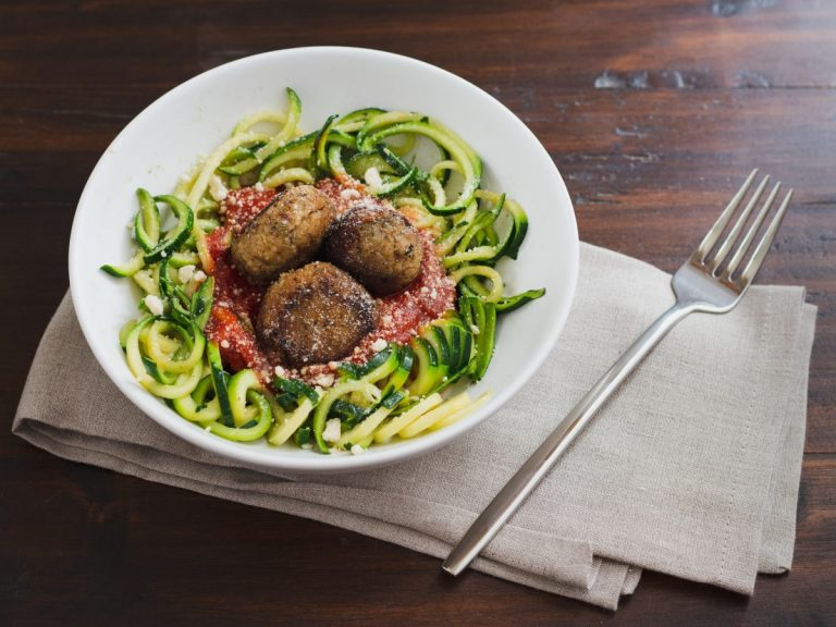 Five Bean Salad Meatballs with Zoodles
