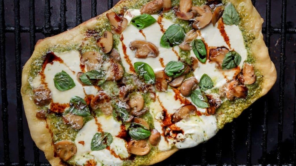 Mushroom and Pesto Flatbread